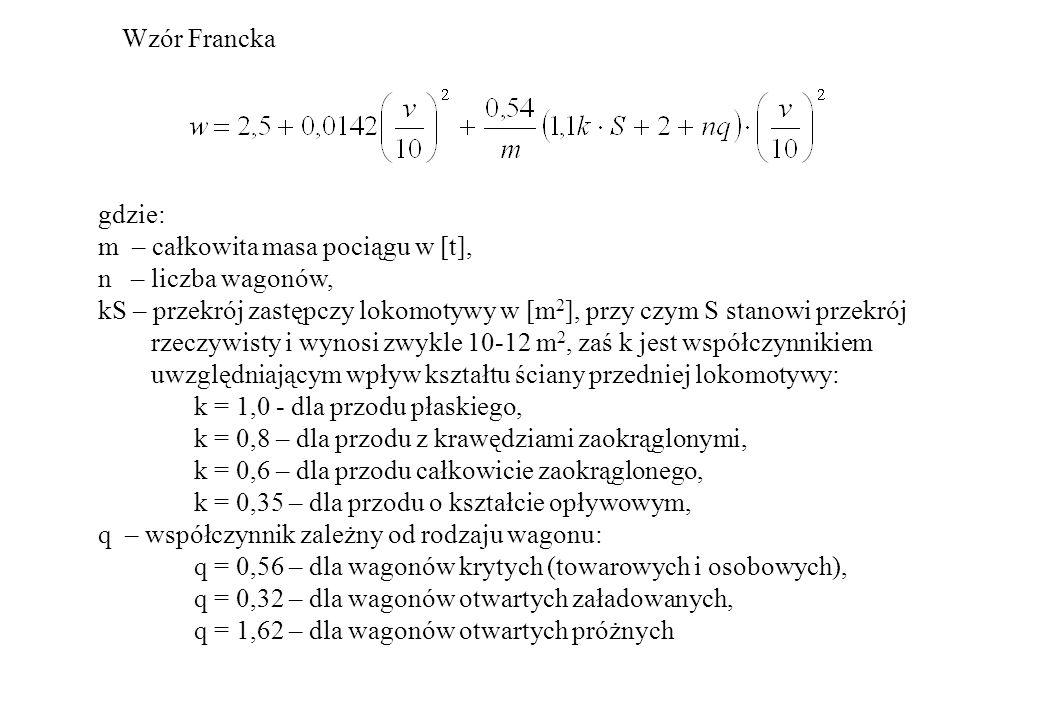 Wzór Franckagdzie: m – całkowita masa pociągu w [t], n – liczba wagonów, kS – przekrój zastępczy lokomotywy w [m2], przy czym S stanowi przekrój.